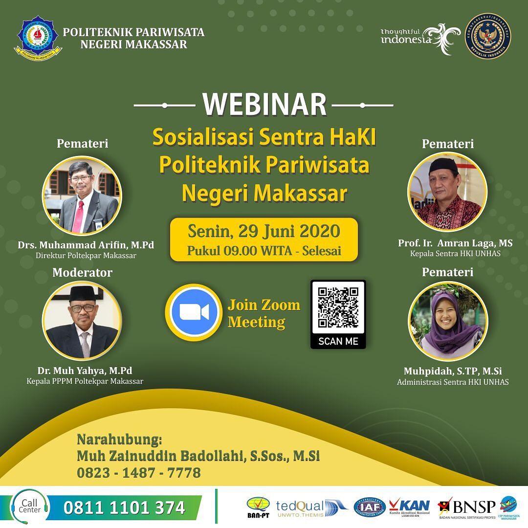 """WEBINAR """"Sosialisasi Sentra HaKI Politeknik Pariwisata Negeri Makassar"""""""